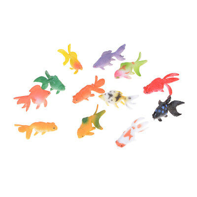 12pcs Plastic Gold Fish Figures Model Kids Party Gift Simulated Ocean Animals GS