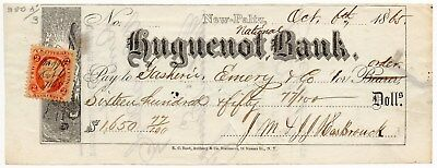 1865 Huguenot National Bank - Check With Revenue Stamp - New Paltz, Ny - #513