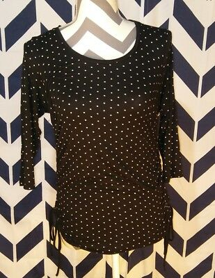 H&M Mama Maternity Medium Black W/ White Dot Black Shirt Top Motherhood Stretchy