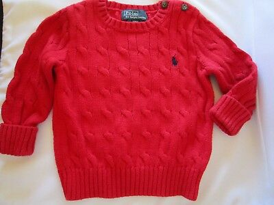 Baby boys Ralph Lauren red cotton jumper  size 12m for approx 1 year old