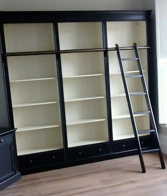 Black Fayence Library bookcase with Ladder