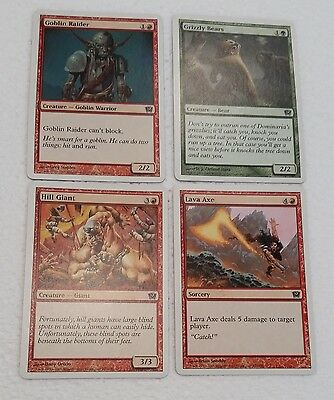 MTG 9th Ed 4 cards Magic the Gathering 2005 Goblin Raider, Grizzly Bears & 2more