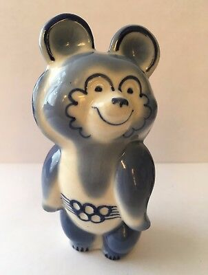 Mishka Misha Bear - Moscow 1980 Olympic Games Mascot - Blue & White China