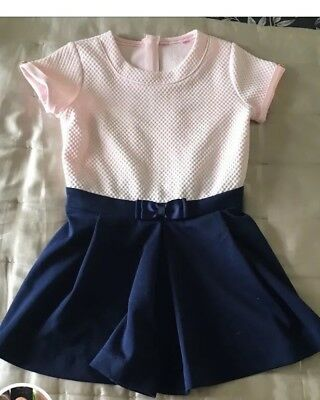 Girls Ted Baker Playsuit. Age 6 Navy And Pink With Lovely Details
