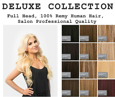DELUXE Double Wefted Clipin Human Hair Extensions Remy Real DIY Weave Clip In AA