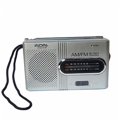 Portable Pocket AM/FM Telescopic Antenna Radio Receiver speaker Battery Powered