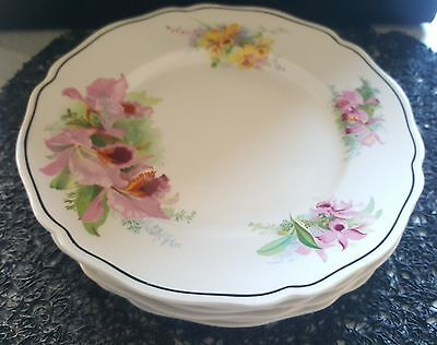 ROYAL DOULTON ORCHID PATTERN VINTAGE 1930's side plates x 6