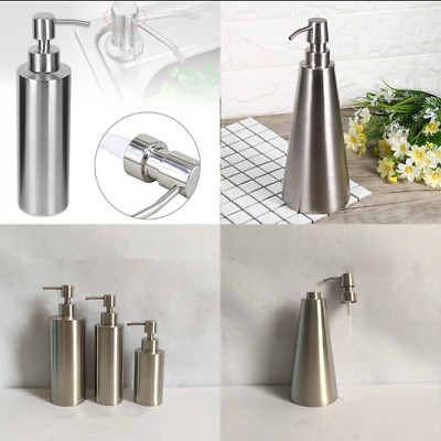 Home Stainless Steel Pump Dispenser Liquid Soap Lotion Bottle Bathroom Container