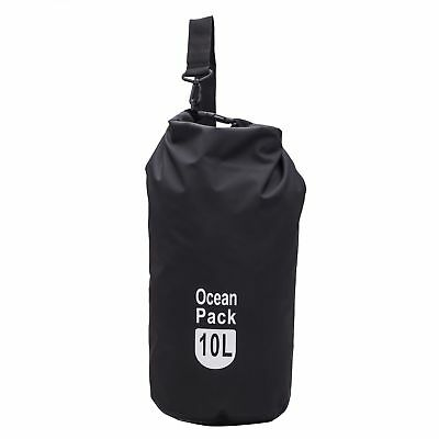 Outdoor Travel 10L Black Shoulder Strap Waterproof Dry Bag For Swimming Drifting