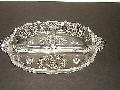 Fostoria Navarre Crystal 3 Part Handled #2496 Baroque 4 Foot Relish Dish  MINT