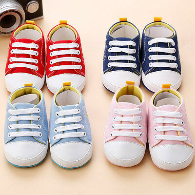 Infant Newborn Baby Boy Girl Crib Shoes Canvas Soft Sole Pram Anti-slip Sneakers