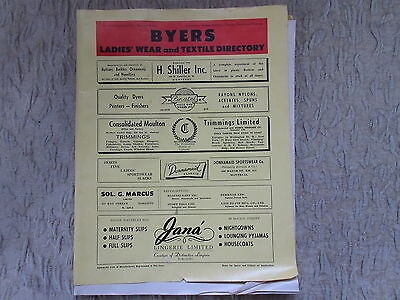 Old 1951 Buyers Ladies Wear and Textile Directory Magazine