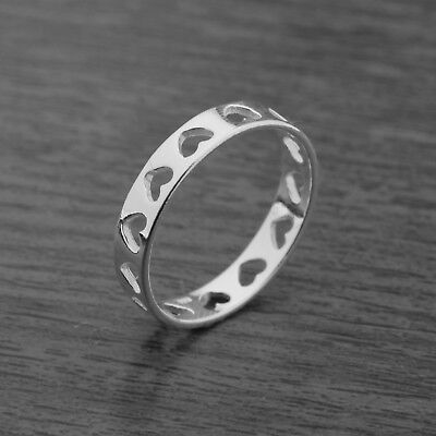 Genuine 925 Sterling Silver 4mm Heart Cut Out Ring Band J-Q