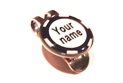 anneys-your OWN PERSONALISED*Black poker chip style golf ball marker +HAT clip*