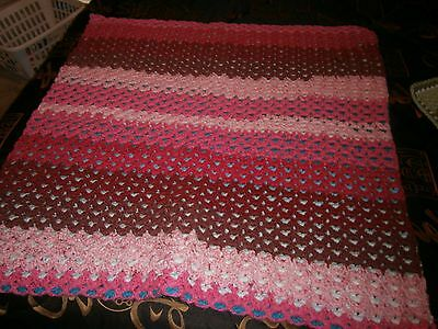 hand made crochet lap throw  two sided