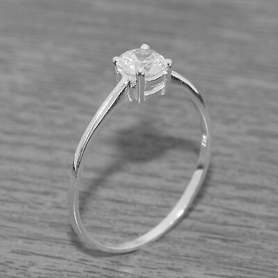 Genuine 925 Sterling Silver 5mm Round Cut Clear Solitaire CZ Ring J-Q