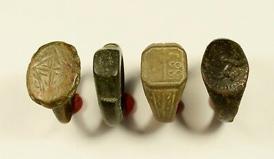 Selected Lot Of 4 Roman / Medieval Bronze Rings - Great Artifacts