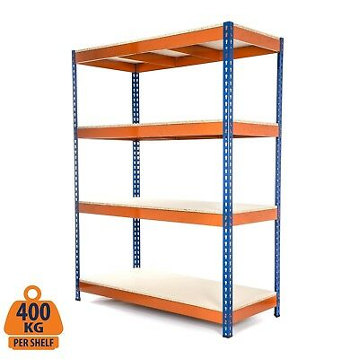 4 Tier Steel Shelving Heavy Duty Garage Storage Racking Blue & Orange 400KG UDL