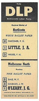 How To Vote card DLP 1960s NORTHCOTE & MELBOURNE NORTH