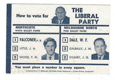 How To Vote card LIBERAL PARTY 1960s Henry Bolte NORTHCOTE & MELBOURNE NORTH