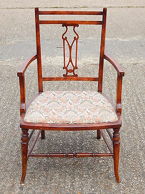 Vintage arts & crafts solid wood upholstered armchair chair hall bedroom study