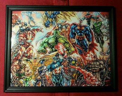 Batman Superman Avengers X-Men Team Framed Art Print Comic Book Gift