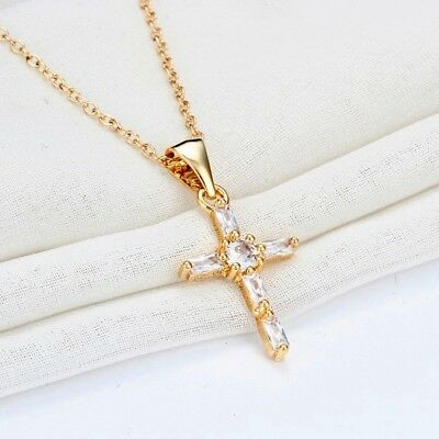 Gold Plated Cross Pendant Necklace With Clear White Cubic Zirconia
