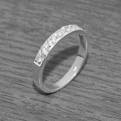 Genuine 925 Sterling Silver 3mm Half Eternity Ring Band J-Q