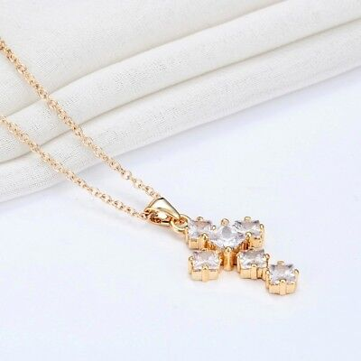 Gold Plated Cross Pendant Necklace With White Cubic Zirconia