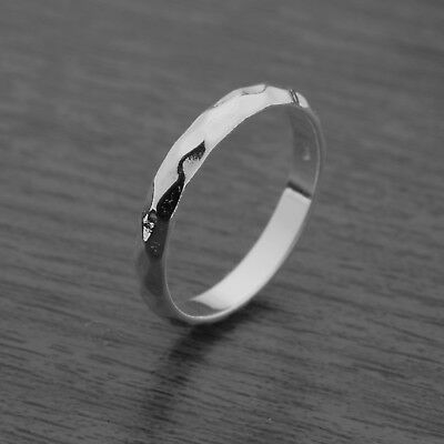 Genuine 925 Sterling Silver 3mm Hammered Ring Band J-Q