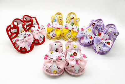Newborn Infant Baby Girl Sandals Summer Bow Soft Crib Shoes Anti-slip Prewalker