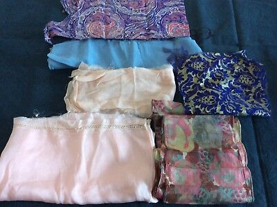 Collection of Fragments of 1930's Silk and Crepe Fabric for craft projects
