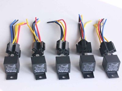 5Pcs DC 12V Car SPDT Automotive Relay 5 Pin 5 Wires w/Harness Socket 30/40 Amp O
