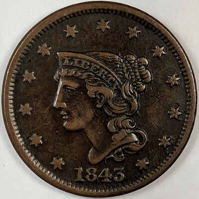 1843 Braided Hair Liberty Head Large Cent - Nice Us Copper Coin