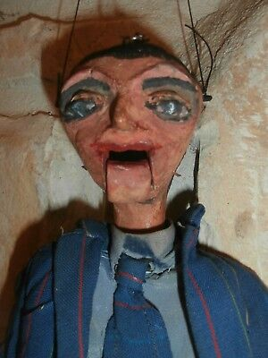 antique  WOOD folk Art CARVED  articulated   UGLY  MAN PUPPET mechanical  mouth
