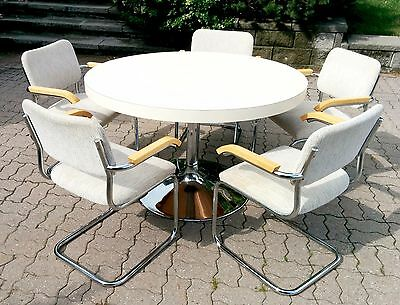 Antique Vintage Dining Table and 5 Upholstered Cesca Arm Chairs
