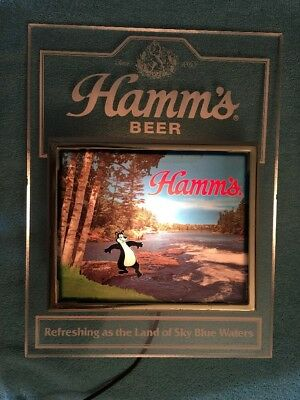 VINTAGE HAMM'S BEER LIGHTED SIGN-BEAR WITH TOE IN WATER-BAR-TAVERN-Pabst Brewing