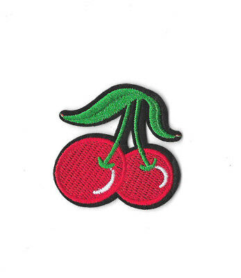 CHERRIES IRON ON / SEW ON PATCH Embroidered Badge Motif CHERRY FOOD FRUIT PT300