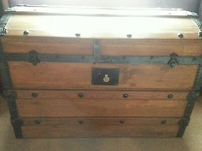Antique Domed Top Wooden Steamer Travel Trunk Chest Log Box Etc