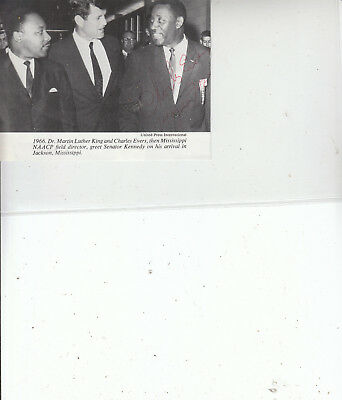 Mayor CHARLES EVERS SIGNED book Photo with Dr. M.L.K. & Sen. Kennedy