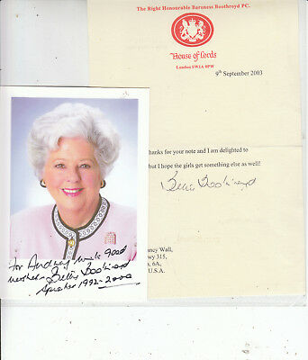 Baroness BETTY BOOTHROYD SIGNED photo & also 2003 House of Lords Letter