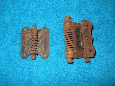 Set of 2 Vintage Spring Door Hinges One Double and One Single Restoration Pieces