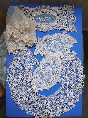 Antique bundle of lace 1 collar 1 circle 1 square & 2 ovals late 1800 hundreds