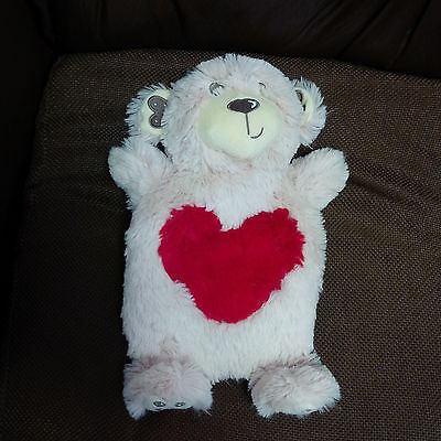 Classic Plush Teddy Bear 0.8-liter Hot Water Bottle & Cover with Big Heart