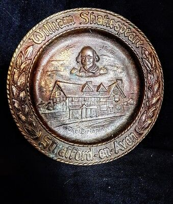 Antique William Shakespeare solid bronze plaque