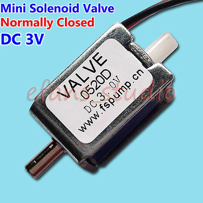 DC 3V Mini Electric Solenoid Valve N/C Normally Closed For exhaust Gas Air Valve