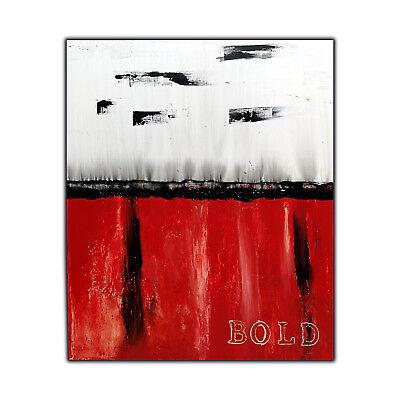 Large Red Abstract Painting on Canvas, Red Black and White 47x39, Original ART