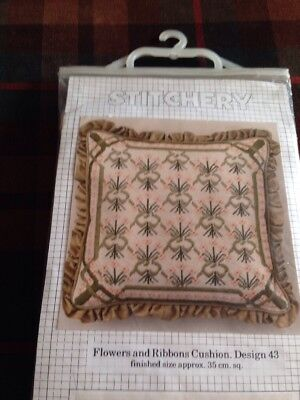 Stitchery Needlepoint Tapestry Kit Flowers and Ribbons