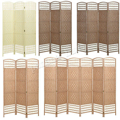 Hand Made Wicker Home Folding Divider Privacy Screen Separator Room 3/4/6 Panels