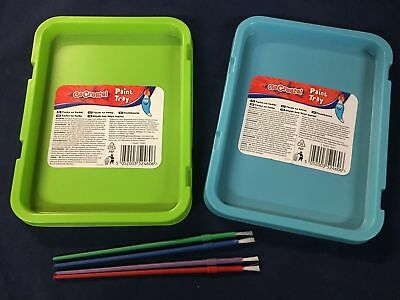 12 Paint Trays for Children's Arts & Crafts Painting New Blue and Green Craft